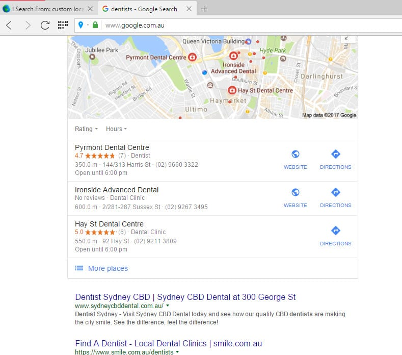 local seo for dentists Sydney
