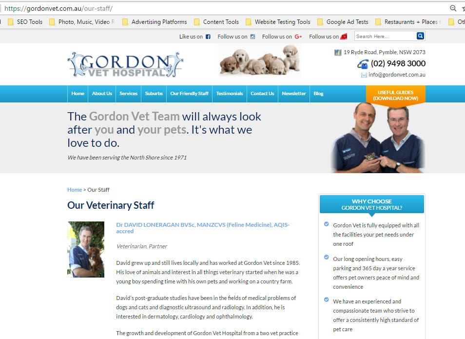 Gordon Vet staff web design