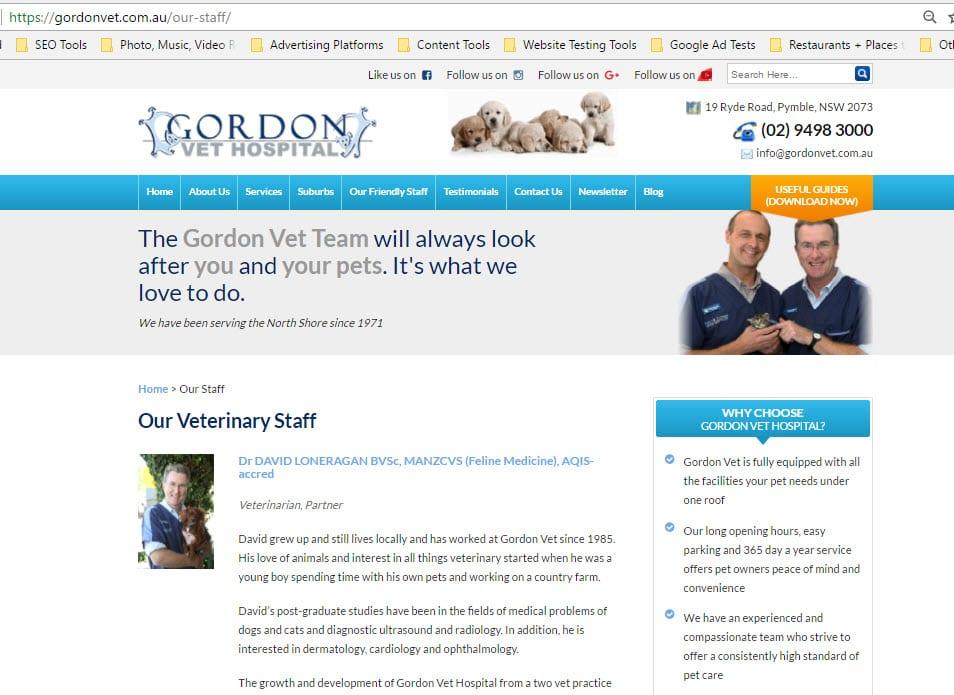Gordon Vet staff web design