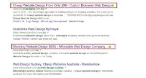 cheap web design pricing example