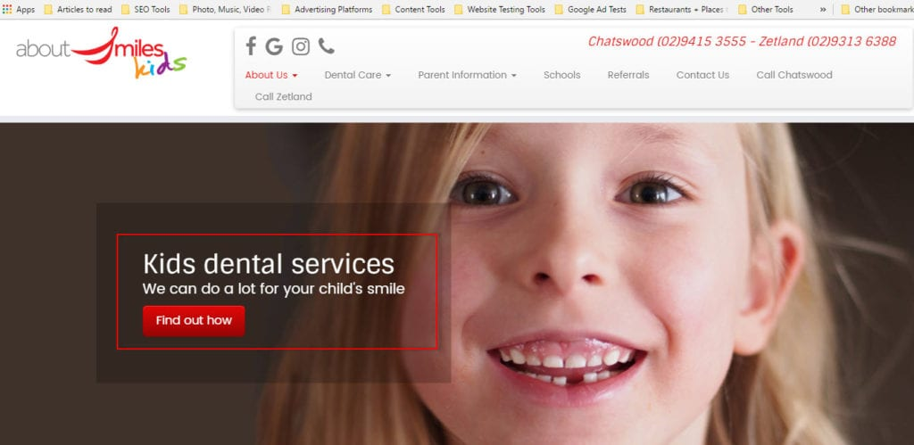 dentists for kids web design