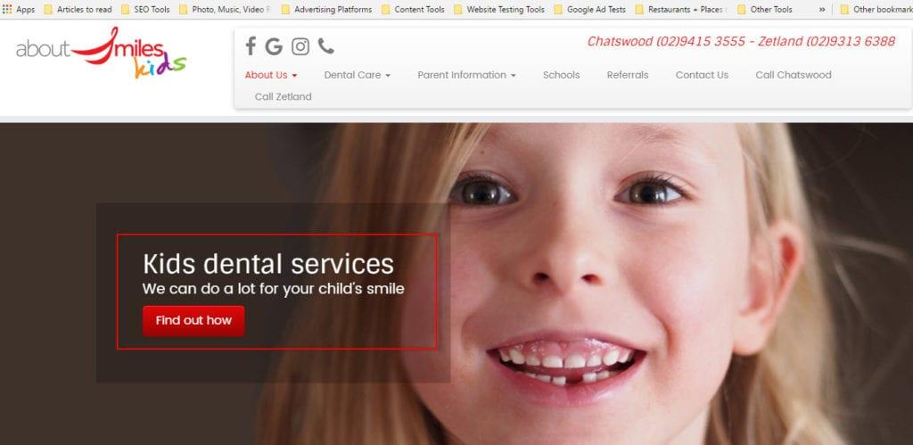 dentists for kids web design