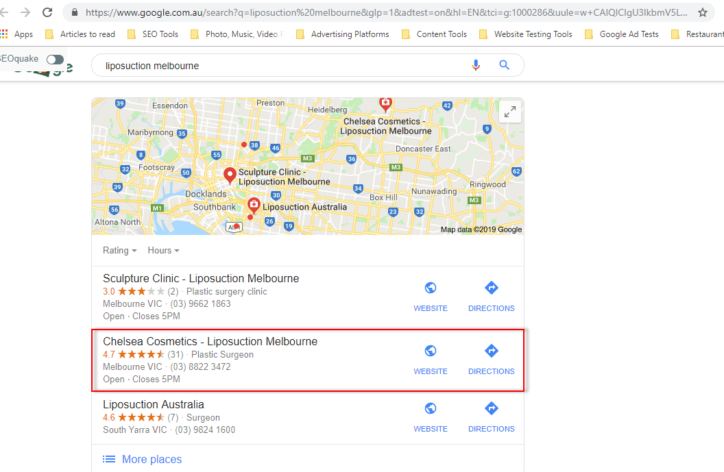 "Top ranking for competitive keywords such as ""liposuction Melbourne"" on both Google Maps and Google organic search results"