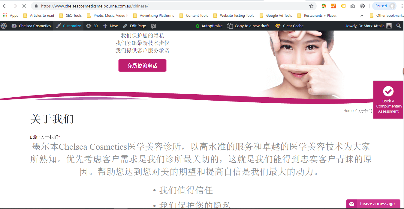 Chinese version of the website to attract Mandarin speaking prospects