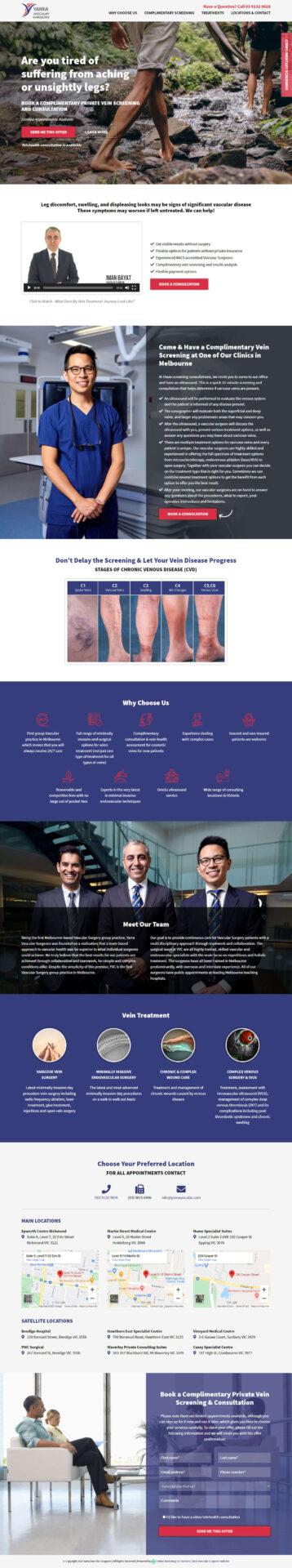 yarra vascular surgeons landing page