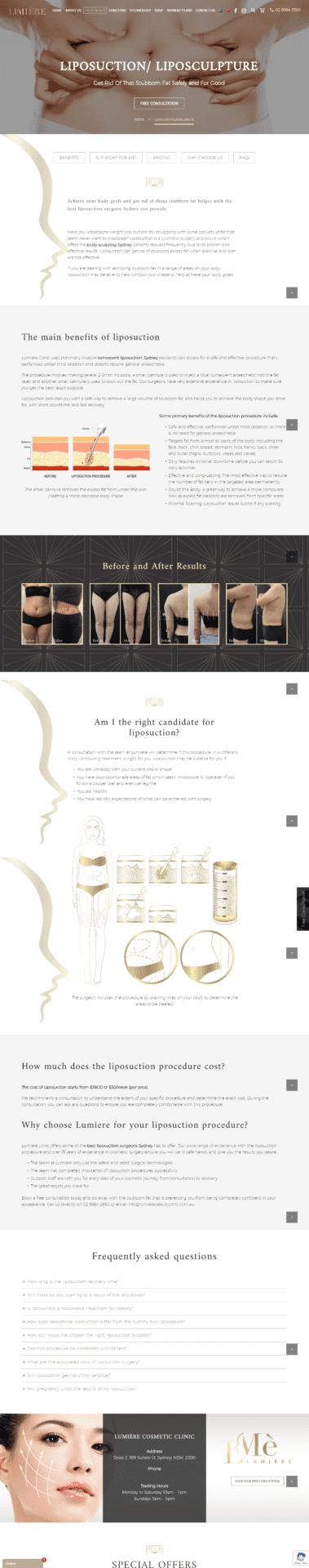 Lumière Beauty Clinic liposuction page
