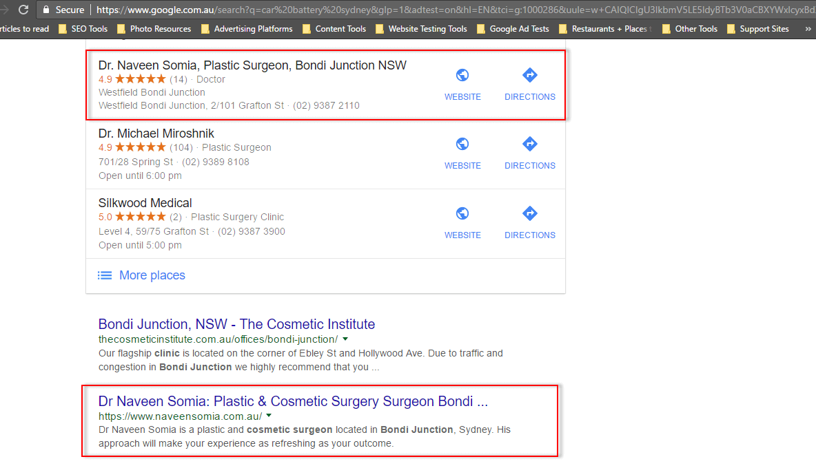 "Top ranking for competitive keyword such as ""Cosmetic Surgeon Bondi Junction"" on both Google Maps and Google organic search results"