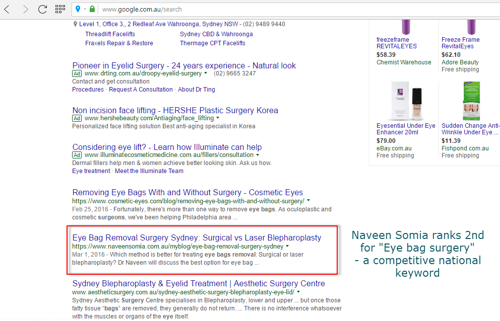 Top Ranking for Keyword Eye bag surgery