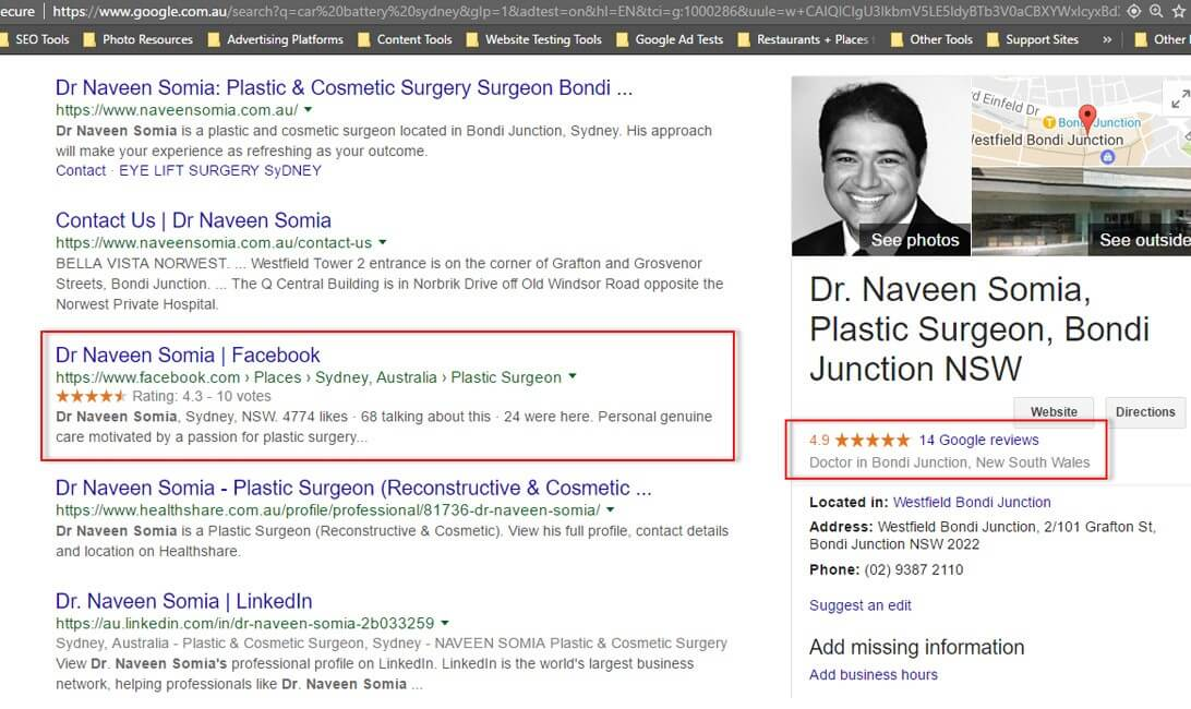 Dr Naveen Somia has gained a good number of positive reviews on their Google Plus Local profile