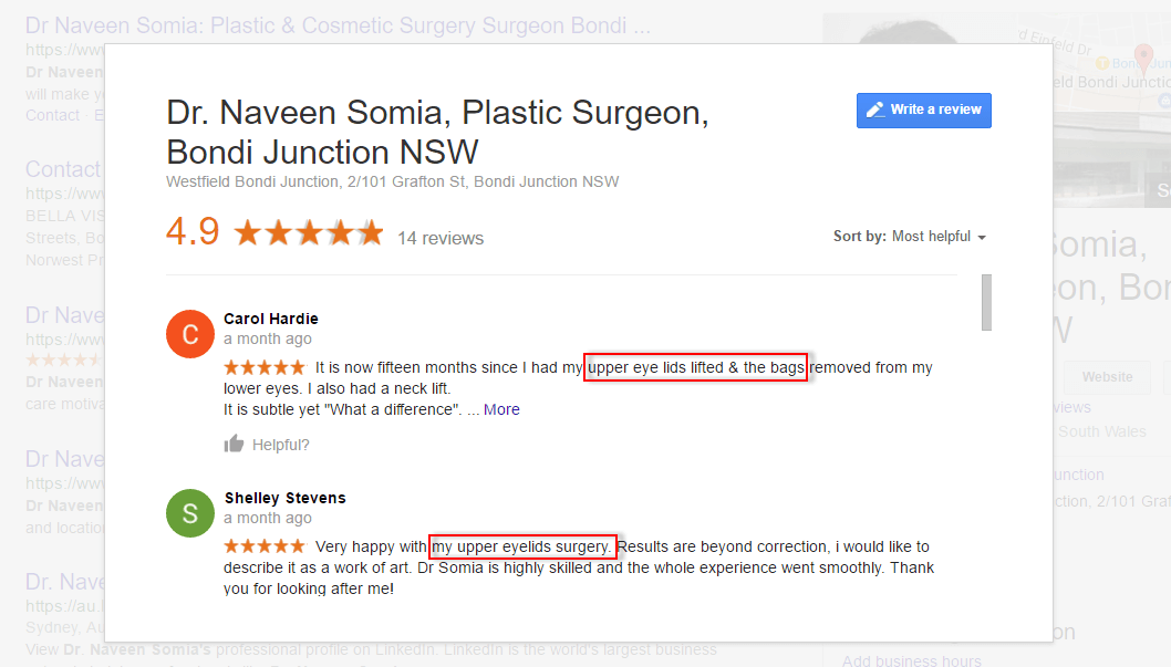 Authentic reviews help Dr Naveen Somia convert visitors to leads better. These reviews reaffirm the niche that Dr Naveen has specialised in and established himself as the expert in this type of cosmetic surgery works.