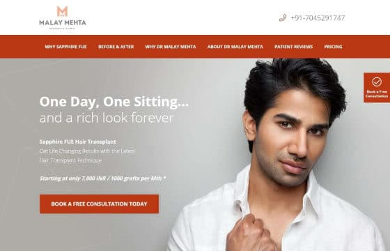 dr malay mehta landing page