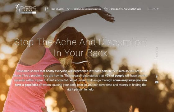 Platinum Chiropractic Erina back pain