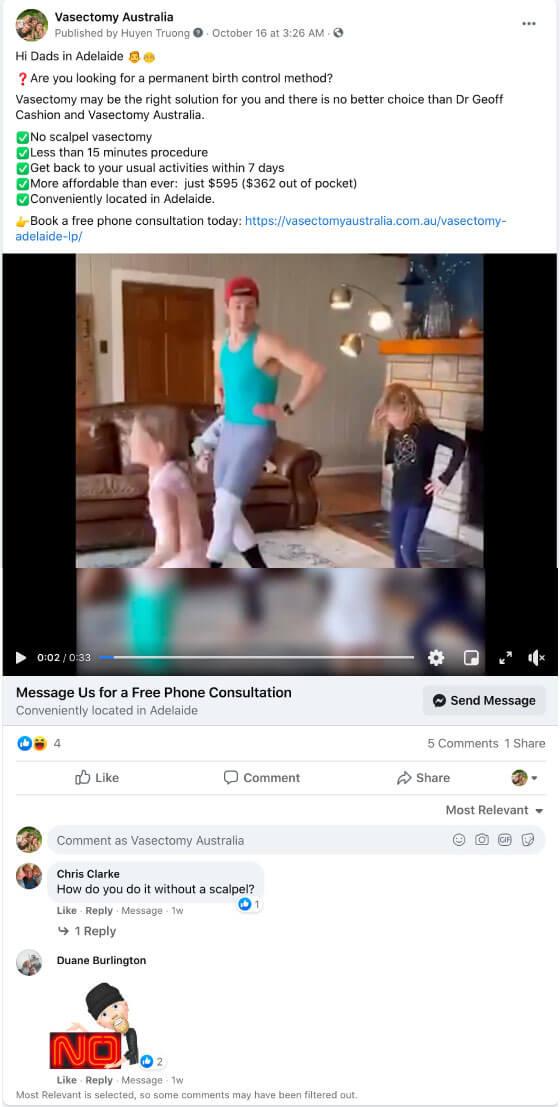 vasectomy australia facebook ad