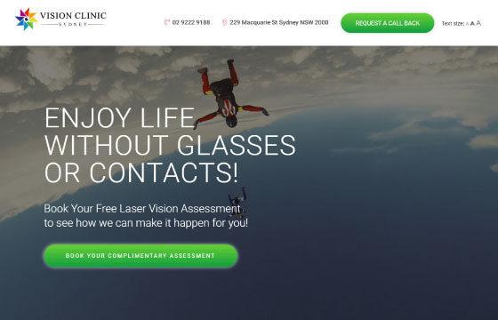 laser eye surgery landing page