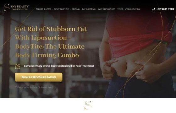 sky beauty clinic liposuction landing page