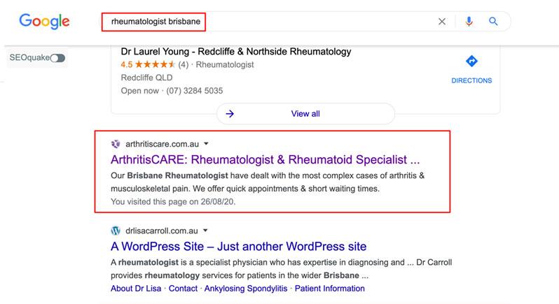 Google ads for rheumatologists