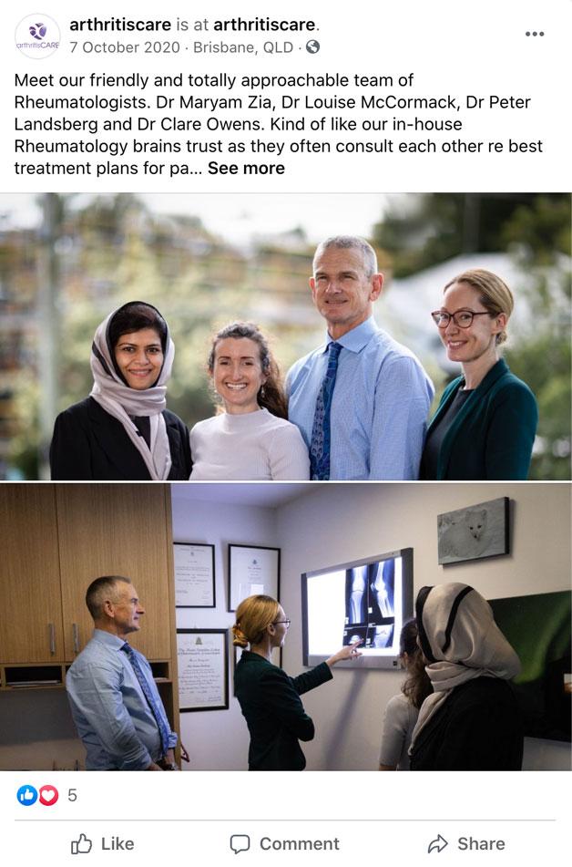 Facebook ads for rheumatologists